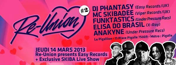 Soirée : RE-UNION #2 Presents Easy Recs & Skiba Live Show @ Le Pigallion, Paris – 14 mars 2013